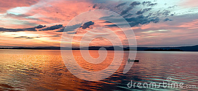 Glowing lake sunrise
