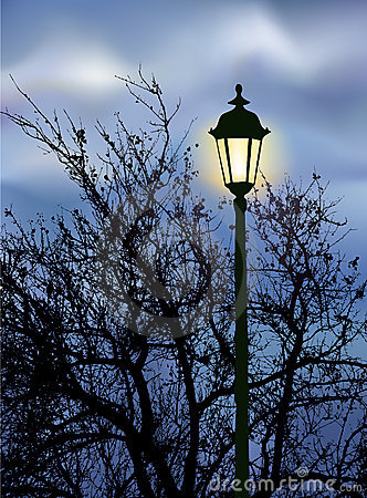 Glowing lantern near the branches