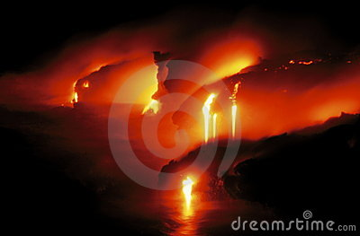 Glowing Lava Flow in Hawaii