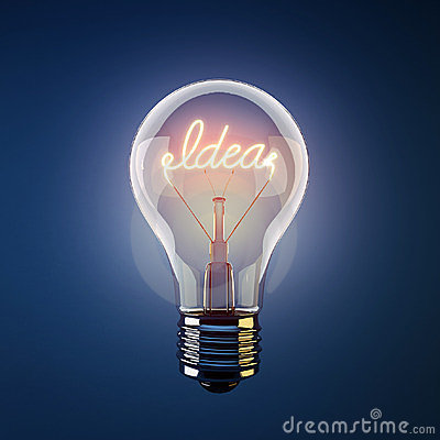 Glowing light bulb with the word idea