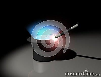 Glowing magic wand and hat