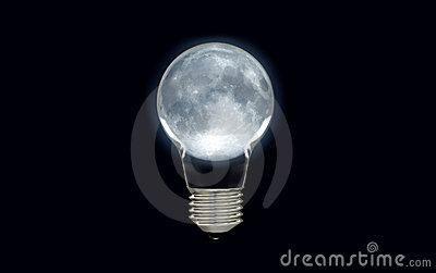 Glowing moon light bulb