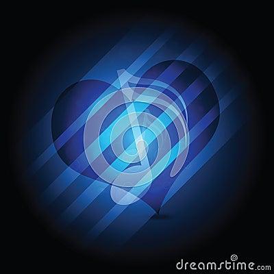 Glowing music heart