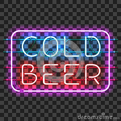 Free Glowing Neon Bar Sign COLD BEER Stock Photos - 84961863