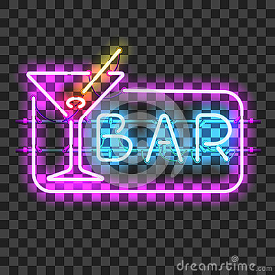 Free Glowing Neon Bar Sign With Martini Glass Royalty Free Stock Images - 84619379