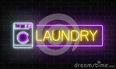 Glowing neon laundry signboard on dark brick wall background. Illuminated self-service washhouse. Vector Illustration