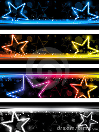 Glowing Neon Stars Banner Background