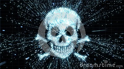 Glowing skull and crossbones illustration being in particle explosion with motion blur Stock Photo