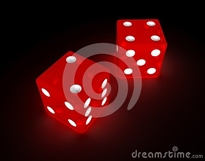 Glowing red dice