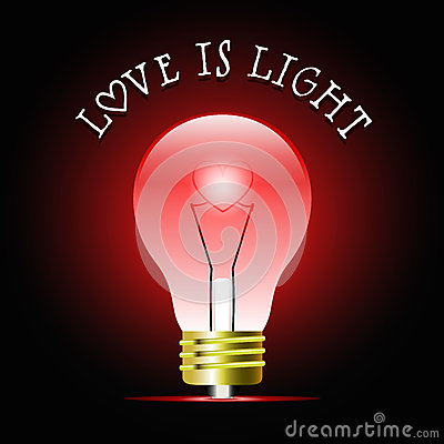 Glowing Red Light Bulb With Heart Shape. Bulb Light Idea ...