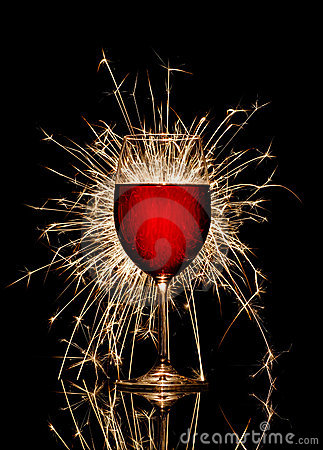 Free Glowing Red Wine And Firework Royalty Free Stock Image - 4537406