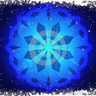 Glowing snwoflake on blue