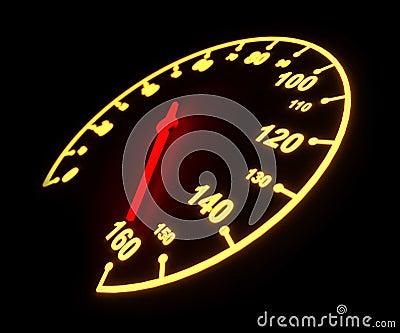 Glowing speedometer dial