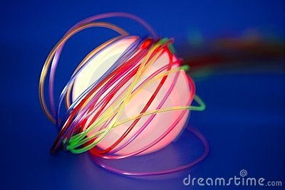 Glowing sphere with colorful wires