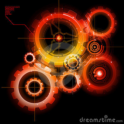 Free Glowing Techno Gears Royalty Free Stock Photo - 17344555