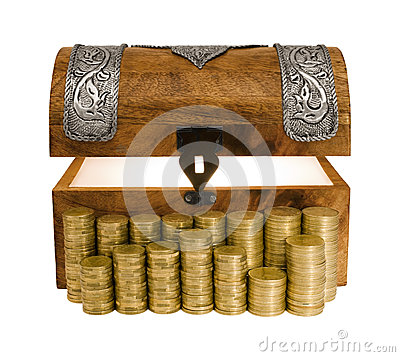 Glowing Treasure Chest and Columns of Golden Coins