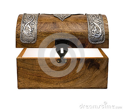 Glowing Treasure Chest on White Background