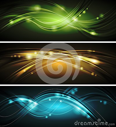 Free Glowing Wavy Vector Banners Stock Image - 30252881
