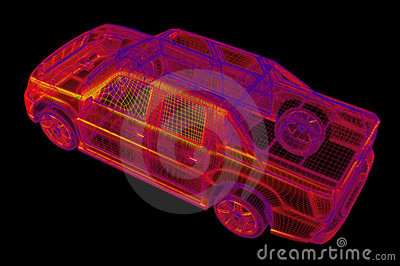 Glowing wireframe of a car 3d model