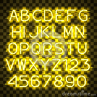 Glowing Yellow Neon Alphabet. Vector Illustration