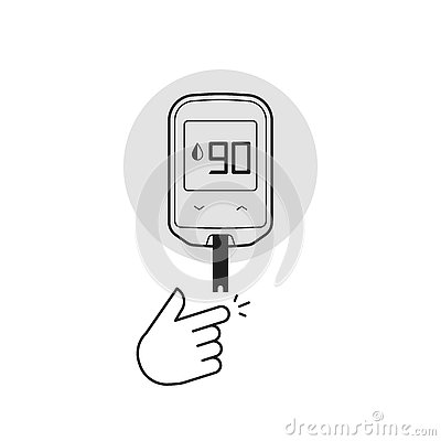 Glucometer vector illustration isolated, diabetes blood glucose test measurement equipment Vector Illustration