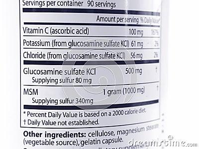 Glucosamine & MSM labeling