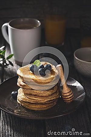 Free Gluten Free Pancakes With Blueberries Stock Photos - 105817673