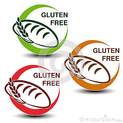 Free Gluten Free Symbols On White Background. Circular Icons With Silhouettes Of Bread With Spikelet. Royalty Free Stock Photos - 78777168