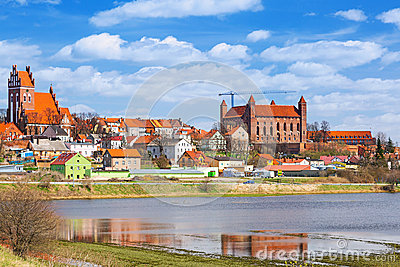 Gniew town with teutonic castle at Wierzyca river