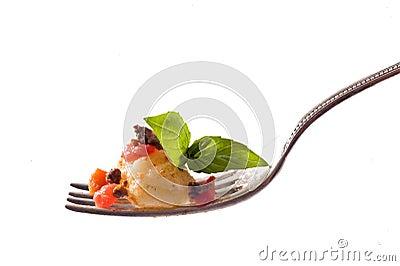 Gnocchi on fork