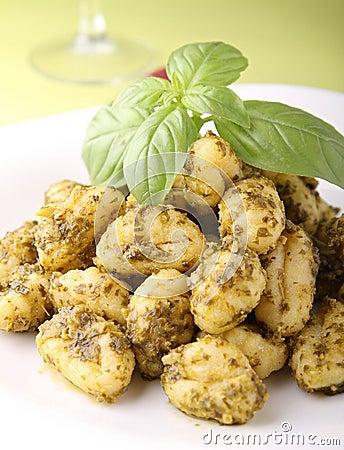 Gnocchi and pesto sauce
