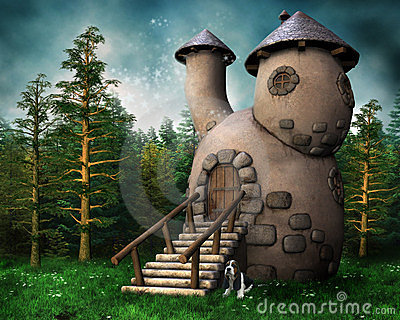 Gnome cottage in a green forest