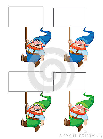 Gnome de marche avec le signe blanc