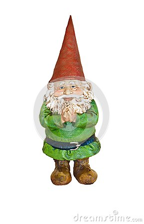 Free Gnome In Green Suit And Red Pointed Hat With Hands Together Stock Photography - 104938432