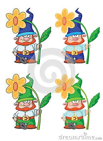 Gnome och blomma
