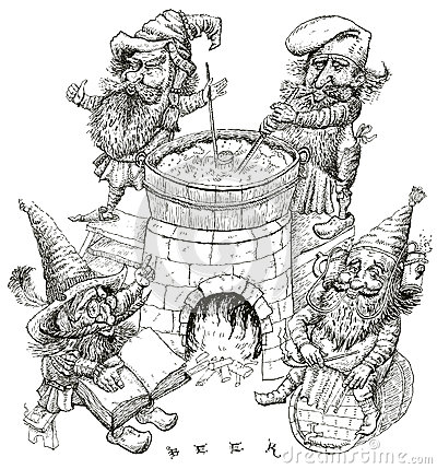 Gnomes brewers. vector