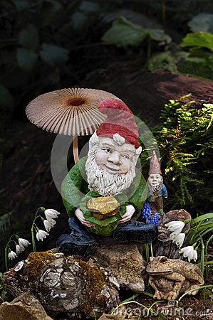 Free Gnomes In Forest With Mushroom Royalty Free Stock Photos - 51705218