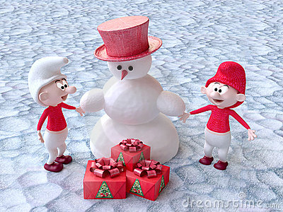 Gnomes and Snowman With Christmas Gifts