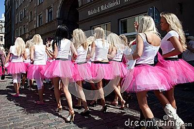Go Blonde parade in Riga Editorial Photo