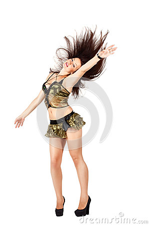 Go-go dancer with long hair