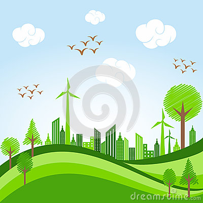 Free Go Green Concept - Eco Cityscape In Bicycle Stock Photography - 39722872