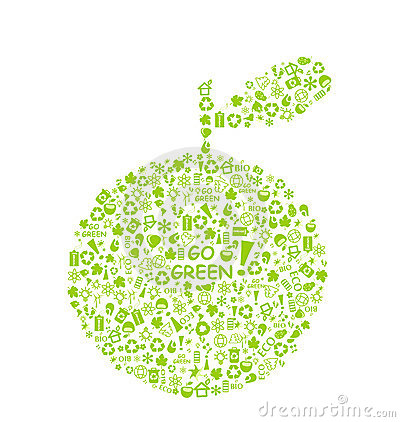 Free Go Green Eco Pattern On Apple Silhouette Stock Photo - 18979670