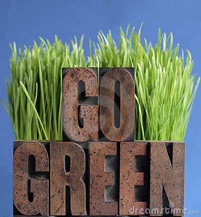 Go green grass on blue