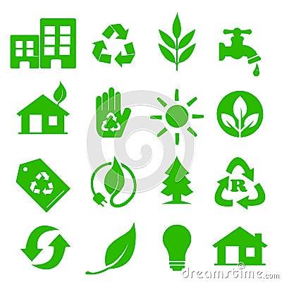 Free Go Green Icons Set - 01 Stock Image - 20198591