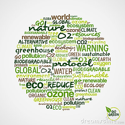 Go Green. Words about environmental conservation