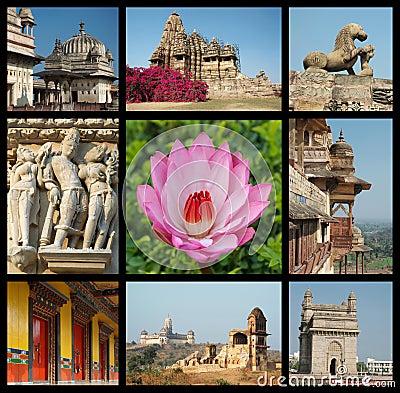 Go India collage - travel photos of India landmark