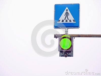 Go light at a pedestrian crossing