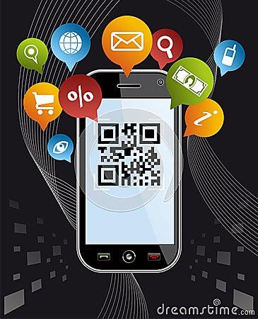 Free Go Social Via Smartphone: QR Code App On Black Stock Image - 23815611