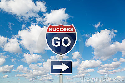 GO to SUCCESS sign on clouds in sky