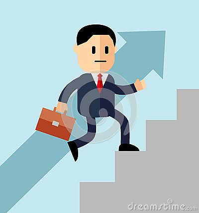 Go up concept, Career ladder, Businessman with suitcase climbing the stairs of success. Concept for successful business, professio